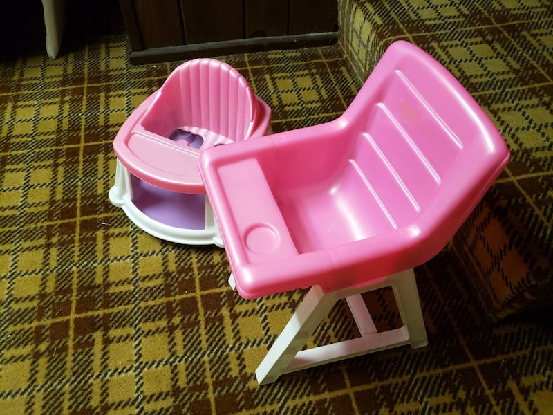 Pink plastic baby doll high chair and walker 3bd4c774-3157-4c7c-8505-cf2a77ca50dc