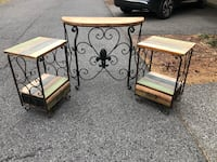 Two black metal base white wooden side tables