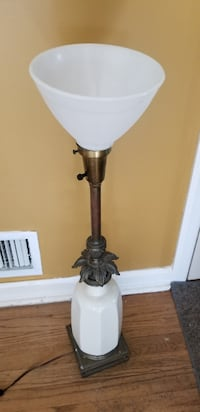 Brass Torch Lamp with Porcelain Base Paramus