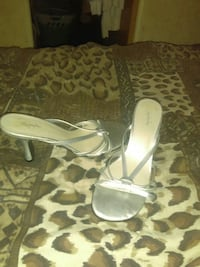 pair of white leather peep toe heeled sandals Raleigh, 39153