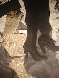 black swade knee high boots