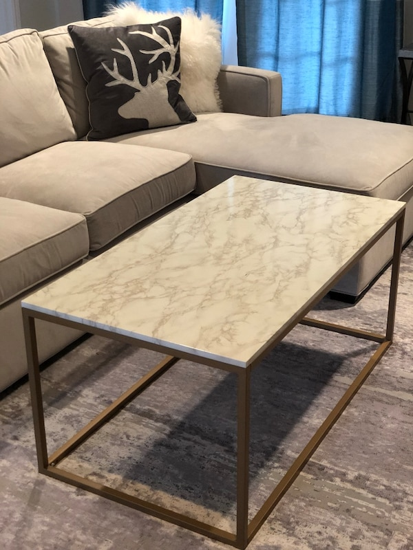 Faux gold and marble coffee table