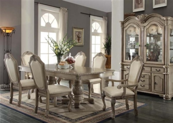 7 Piece Antique White Finish Formal Dining Set NO CREDIT CHECK FINANCING 3900 DOWN