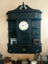 black wooden wall shelf with clock New Hope, 18938