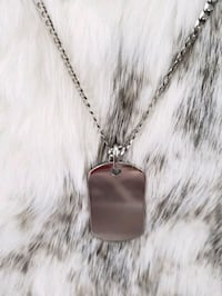 Sterling Silver Diamond Cut Curb Dog Tag Necklace