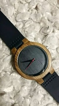 round gold-colored analog watch with black leather strap Detroit