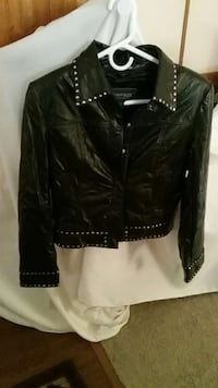 Leather Jacket with studs on sleeves, bottom, neck