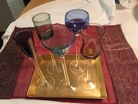 Liquor glass set of 5 different colour with gold tray ********* never been used ******** Vaughan, L4L 7G4