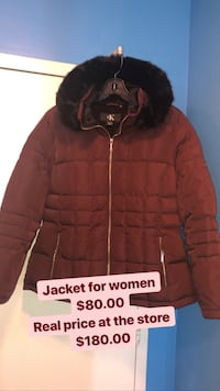 black and red zip-up bubble jacket Toronto, M3C