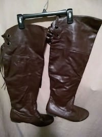 Size 10 chocolate brown thigh high boots Merced, 95348