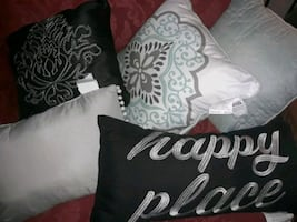 Five Couch Pillows in Shades of Blue