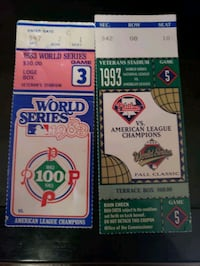 1993 and 1983  MLB World Series ticket stubs Phillies