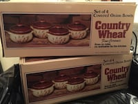 2 sets of 4 covered French onion soup bowls with lids $5/each Woodbridge, 22192