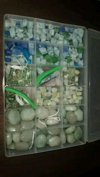 Assorted boxes of stones and beads
