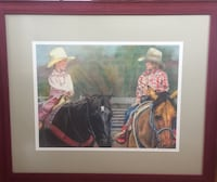 Boy and girl riding in horses painting
