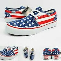 white-and-blue Vans low-top sneakers Montana