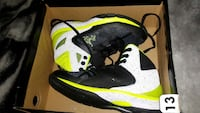 white-black-yellow basketball shoes in box