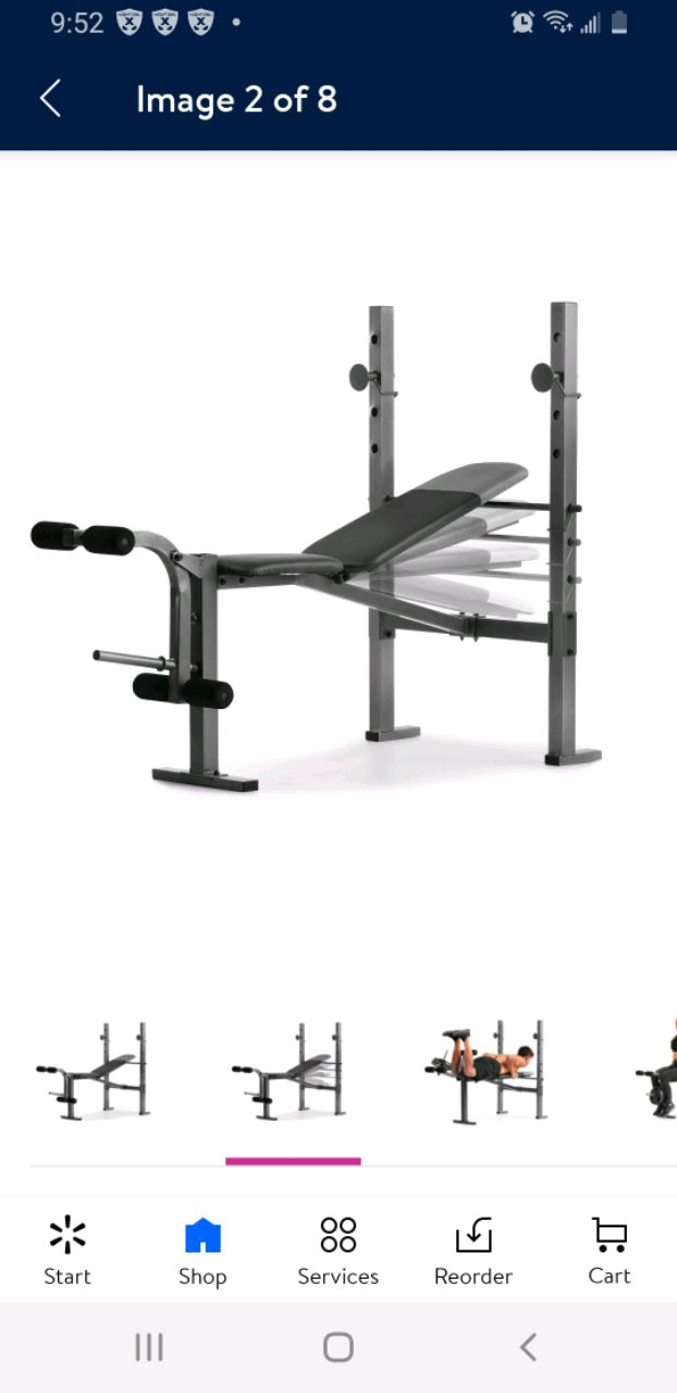 Photo Weider XR 6.1 Adjustable Bench with 100lb Weight Set and Leg Developer