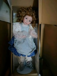 girl doll wearing blue and white dress Edmonton, T5M 0L1