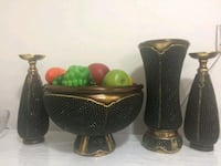 two black-and-golden ceramic vases Markham