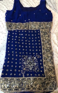 Blue heavy embroidered sari with blouse  Brampton, L6X 5B2