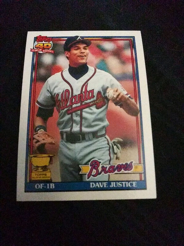 1991 Topps David Justice Rookie Baseball Card