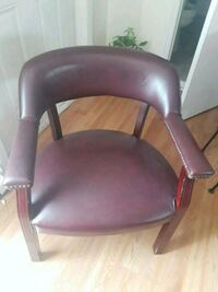 brown leather padded rolling armchair Monroe, 06468