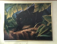 """Large canvas Black Panther Painting signed by Gaston great condition size is 4ft 2"""" width x 3ft 3"""" height  Leland, 28451"""