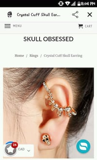 Gold diamond skull design one sided ear piece Winnipeg, R3A 1J7