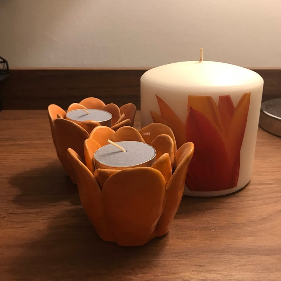 Flower Tea Light Holders and Large Flower Candle