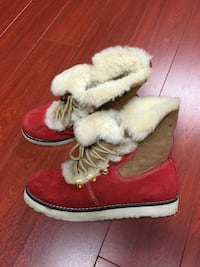 Red boots with fur, size 6.5