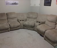 UltraSuede Sectional Media Couch Red Deer, T4R 2G5