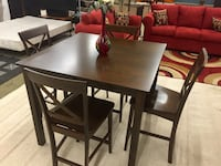 Solid Wood Espresso Pub Table with Chairs Charlotte, 28216