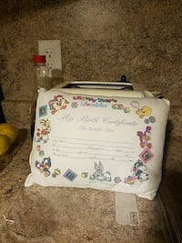 white Loony Tunes Birth certificate  pillow Seaford, 19973