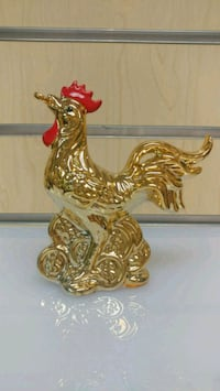 Ceramic Rooster Figurine ( NEW ) gold & red