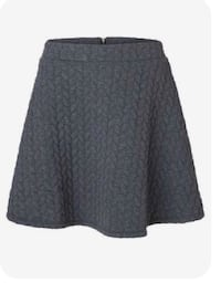 VERO MODA Grey Quilted Skater Skirt: Size Small