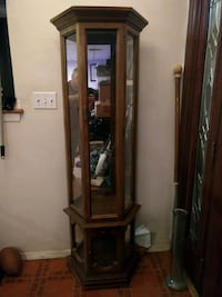 Mirrored back display curio cabinet with lights