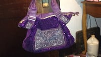 Purple sequins and bejeweled bag