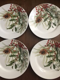 Williams Sonoma 4-New Pine cones, Juniper Berries, Pine Needles & Holly Berries Salad Plates Washington, 20001