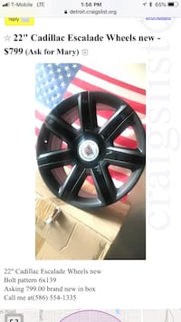 "22"" black Cadillac Escalade 7-spoke vehicle wheel screenshot Sterling Heights, 48310"