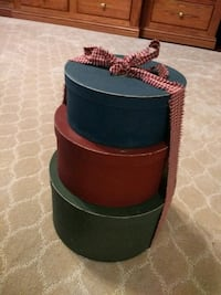 3 Old Fashioned Hat Boxes, rapped with ribbon and bow.  Forest Hill, 21050