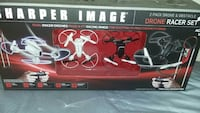 white Sharper Image drone racer set box