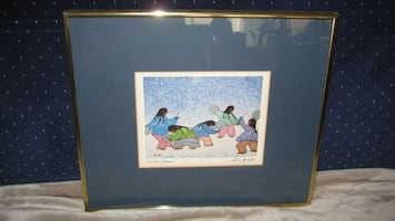 Print- Winter Dance - by Cecil Youngfox - w Brass Frame