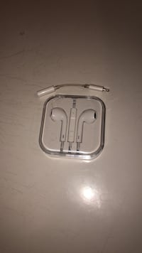 White apple earpods in case plus adapter