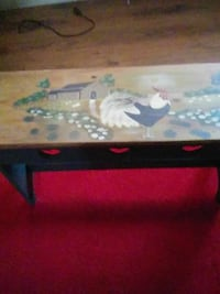 Bench with painted rooster and barn scene