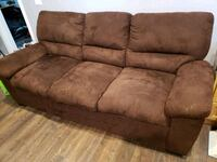 Chocolate microsuede couch Calgary, T3K