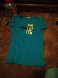teal and yellow hollister printed shirt