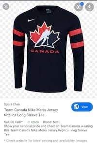 BRAND NEW! Nike team Canada Jersey long sleeve Toronto, M4S