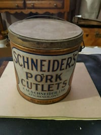 Antique Schneider's pork cutlet tin. Hamilton, L9C