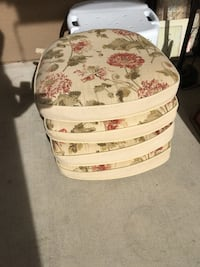 Set of 4 matching outdoor chair cushions. All in good condition, with durable velcro for attaching to a chair. $20 for set. 2235 mi